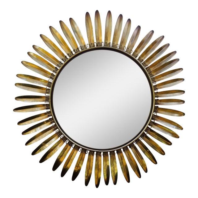 Mid Century Modern French Sunburst Convex Mirror