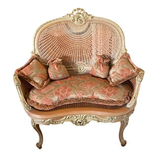 French Antique Louis XV Style Settee With Pillows For Sale