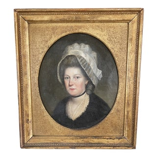 Late 18th Century English Portrait of a Lady Oil Painting Attributed to John Russell, Framed For Sale