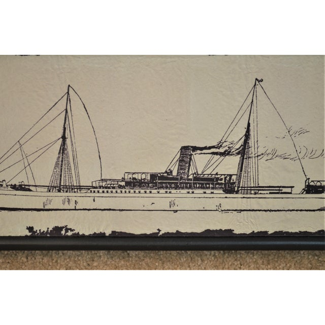 Nautical Canvas Wood Steam Ship Wall Art Showroom Sample For Sale - Image 3 of 5