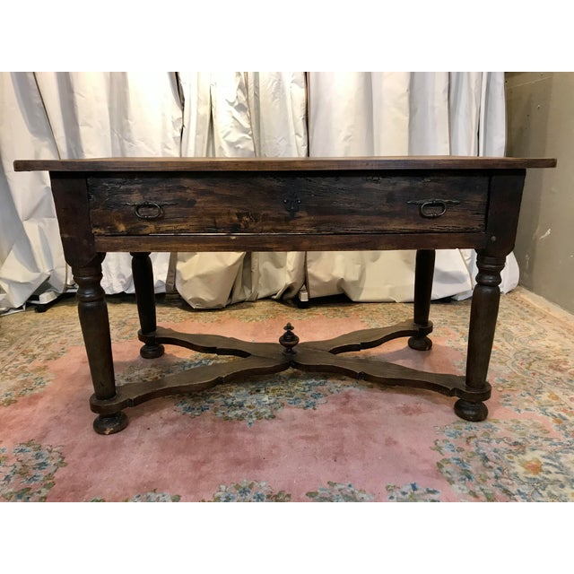 Brown French Walnut Work Table With Drawers For Sale - Image 8 of 8