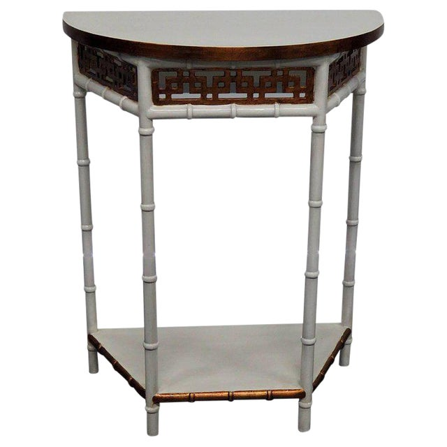 Asian Modern Design Demilune Console Table For Sale