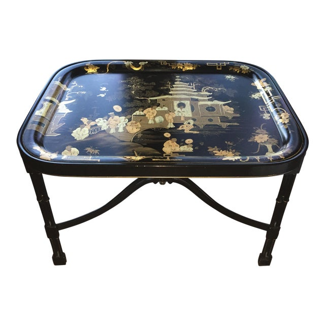 Coffee Table Tray Gold: Fine Tole Tray Coffee Table In Black/ Gold, Alfred Gignery
