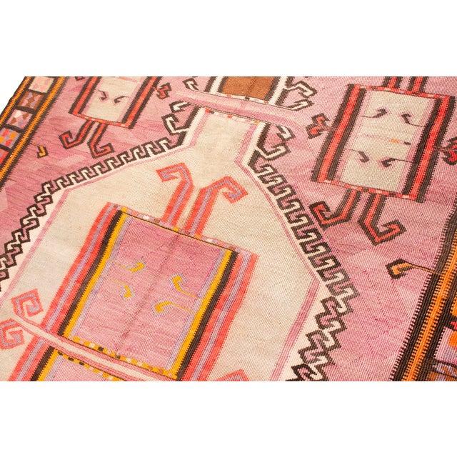 Vintage Mid-Century Geometric Wool Kilim Runner - 5′1″ × 14′9″ For Sale - Image 4 of 8