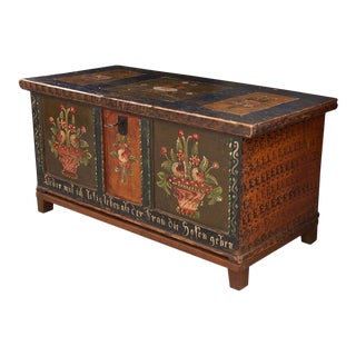 19th Century German-Alsatian Painted Pine Trunk For Sale