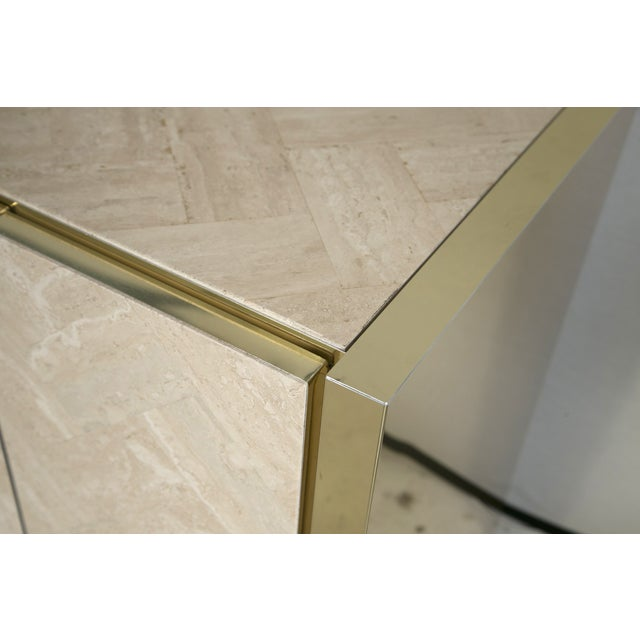 Ello Polished Travertine & Brass Credenza - Image 8 of 10