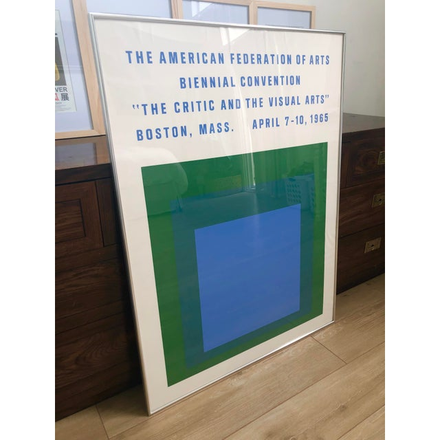 Josef Albers 1965 Vintage Josef Albers Homage to the Square American Federation of Arts Framed Poster For Sale - Image 4 of 11