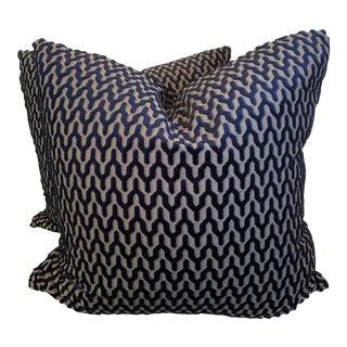 "Geometric Cut Velvet 22"" Pillows-A Pair For Sale"