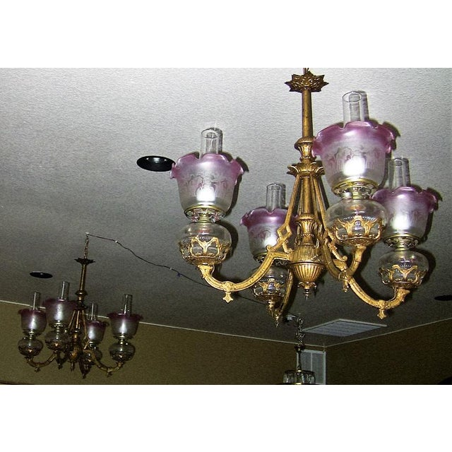 19c Pair of Bradley and Hubbard Gold Leaf 4 Arm Chandeliers - Image 5 of 13
