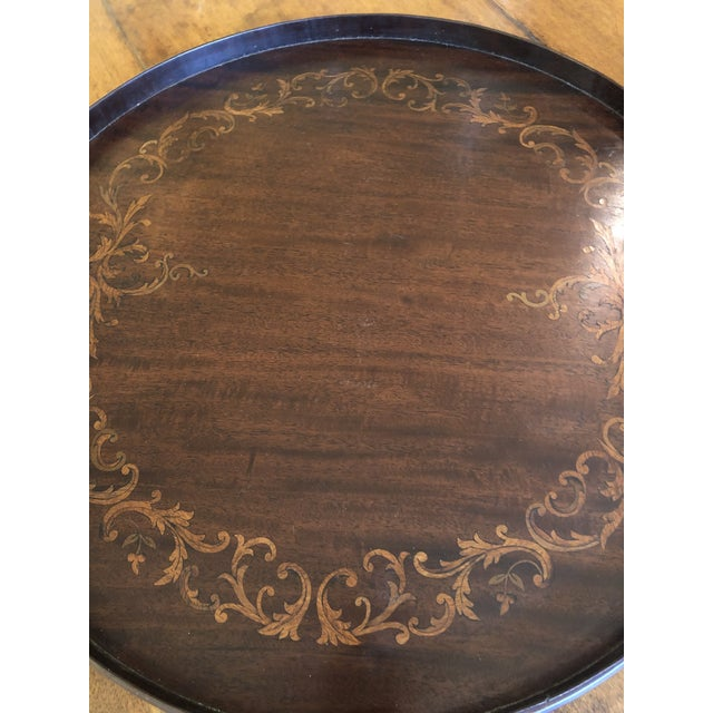 Inlay Wood Round Serving Tray For Sale - Image 4 of 8