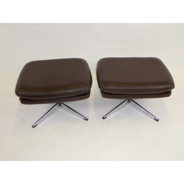1970s Overman Swivel Foot Stools Benches in Dark Brown Leatherette- A Pair For Sale - Image 12 of 13