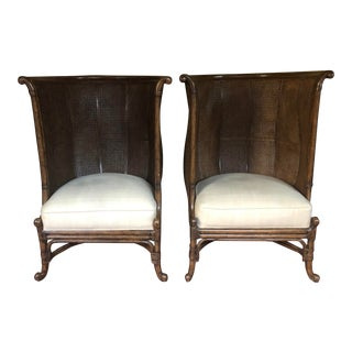 Maitland Smith Cane Occasional Chairs a Pair For Sale