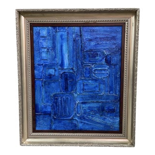 Contemporary Abstract Monochromatic Mixed-Media Painting by Tony Marine, Framed For Sale