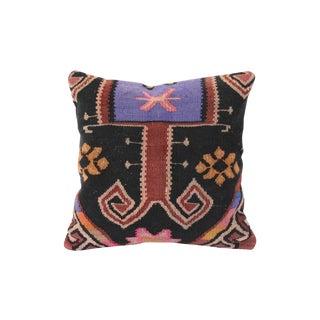 Lilac & Black Turkish Kilim Cushion For Sale