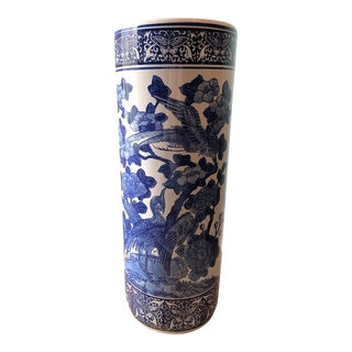 Vintage Blue and White Asian Umbrella Stand For Sale