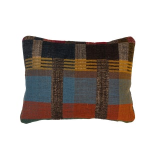 Hand Woven Indian Textile Pillow in Japanese Stripe Design For Sale