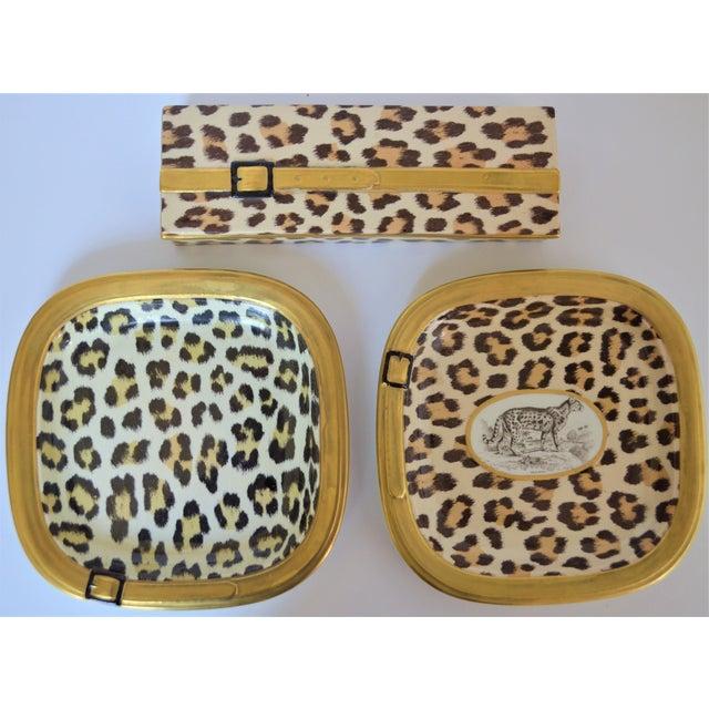 Italian 1970s Vintage Italian Mottahedeh Leopard Ceramic Set - 3 Pieces For Sale - Image 3 of 10
