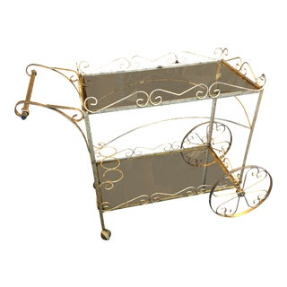 Brass Toned Filigree Bar Cart For Sale