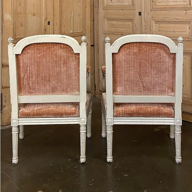 Pair 19th Century French Louis XVI Painted Armchairs ~ Fauteuils For Sale In Dallas - Image 6 of 13