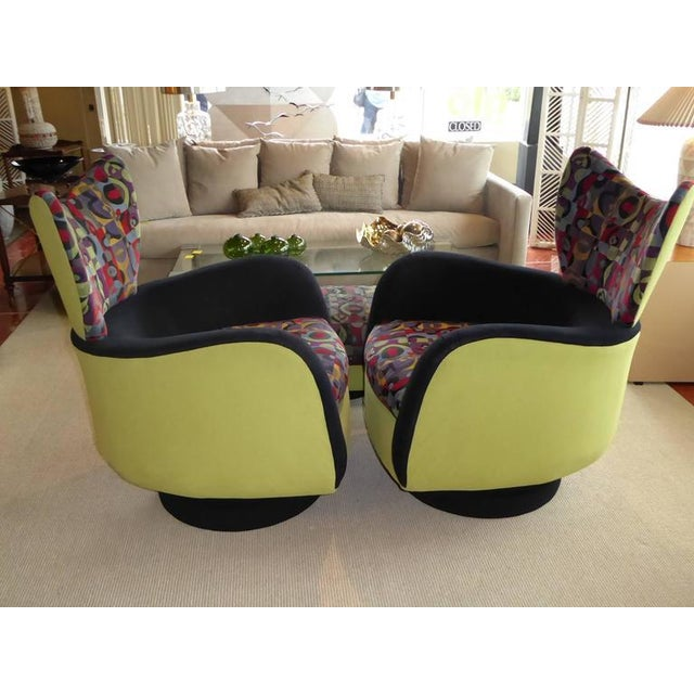 Pair of Vladimir Kagan Lounge Chairs for Directional with Ottoman - Image 4 of 9