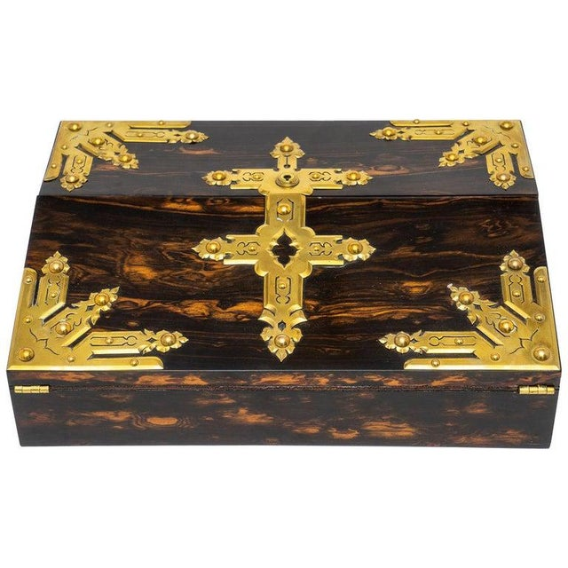 1880s Edwardian Brass & Wood Traveling Lap Desk with Original Key For Sale - Image 13 of 13