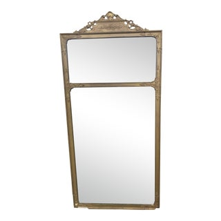 "Antique 19th Century French Louis XVI Gilt Wood Trumeau Etched Glass Mirror With Floral and Shell Motif. 39"" For Sale"