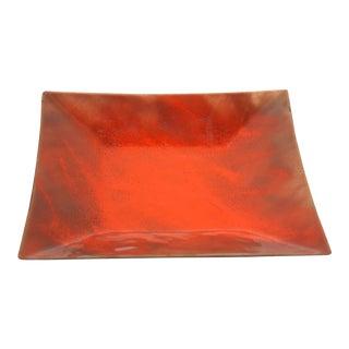 Mid Century Modern Enamel on Copper Square Dish in Orange For Sale