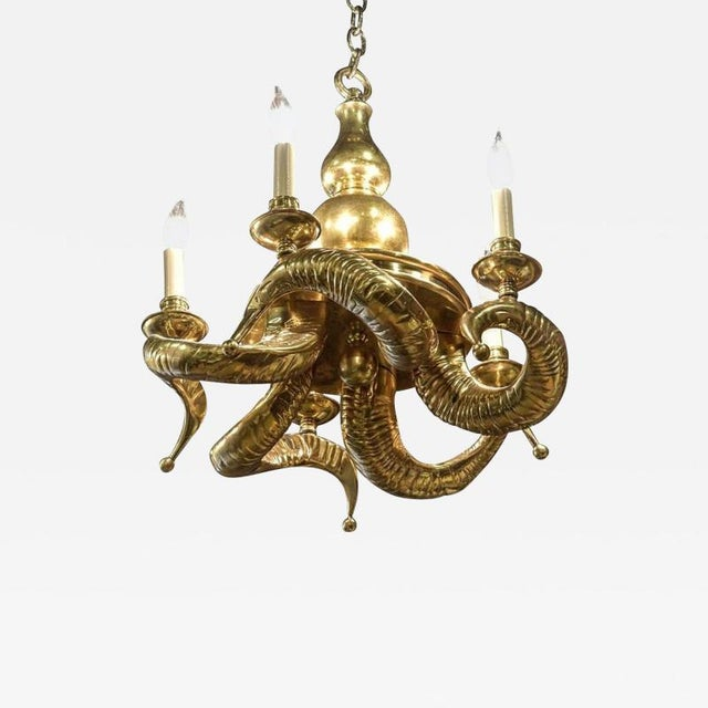 """This is a incredible vintage and very heavy solid brass """"ram horn"""" chandelier, dating from the 1970s, and found in a home..."""