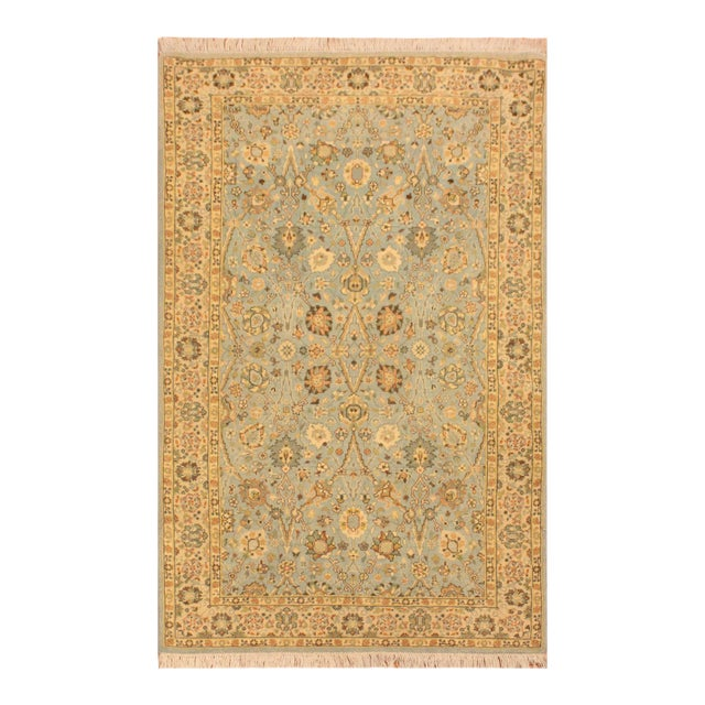 Shabby Chic Istanbul Archie Blue/Ivory Turkish Hand-Knotted Rug -3'1 X 5'0 For Sale