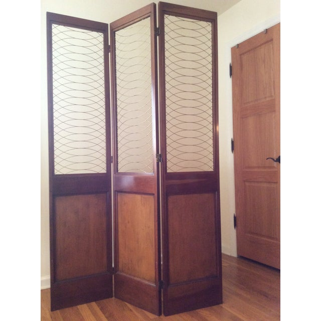 Barnard simonds three panel wooden screen chairish