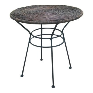 Vintage Wrought Iron and Rattan Side Table For Sale