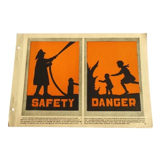 1930 Art Deco Fire Safety & Danger Print Character Culture Citizenship Guides For Sale