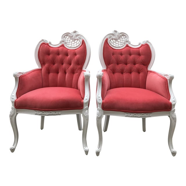 Early 20th Century French Provincial Host Carved Chairs Painted White Hollywood Regency Upholstered Velvet Tufted Fabricut Dining Chairs - a Pair For Sale