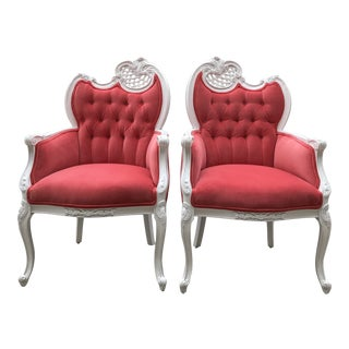 Early 20th Century French Provincial Host Carved Chairs Painted White Upholstered Velvet Tufted Fabricut Dining Chairs - a Pair For Sale