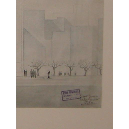 French Grand-Scaled French Architectural Drawing For Sale - Image 3 of 6