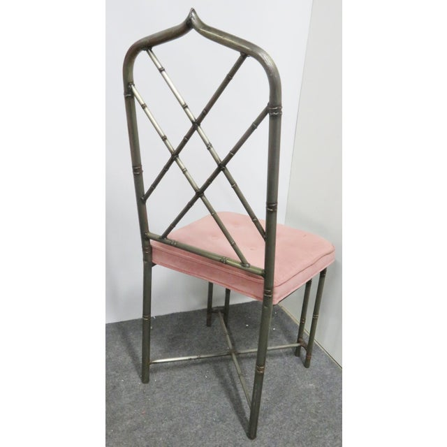 Brutalist Mid Century Brutalist Faux Bamboo Metal Dining Chairs- Set of 4 For Sale - Image 3 of 9