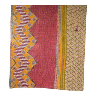 1980s Pink Shibori Kantha Quilt For Sale