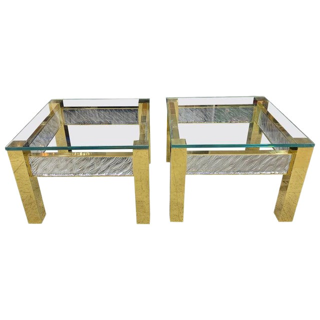 Pair of Modern Italian Murano Glass and Brass End Tables For Sale