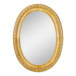Antique English Style Oval Mirror With Natural Wood Finish For Sale