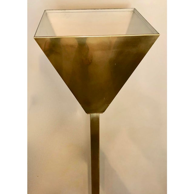Mid-Century Modern Vintage Brass Torchiere Floor Lamp For Sale - Image 3 of 7