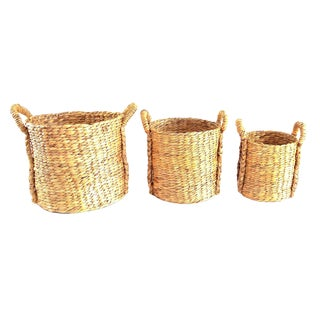 Braided Hyacinth Utility Baskets – 3 Pieces For Sale