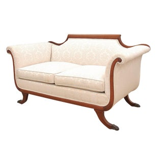 1940s Vintage Empire Style Loveseat For Sale