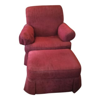 Fabric Hooker Club Chair and Ottoman For Sale