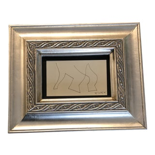 Original Vintage Robert Cooke Miniature Abstract Ink Drawing Framed 1960's For Sale