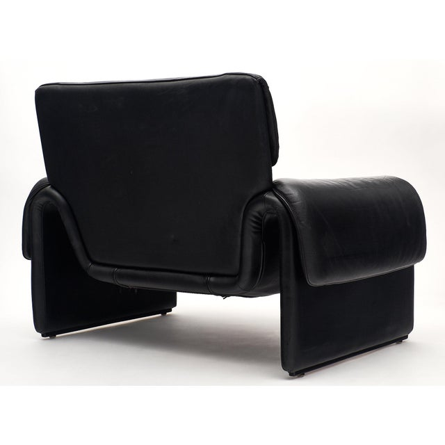 Vintage De Sede Black Leather Armchair For Sale - Image 10 of 11