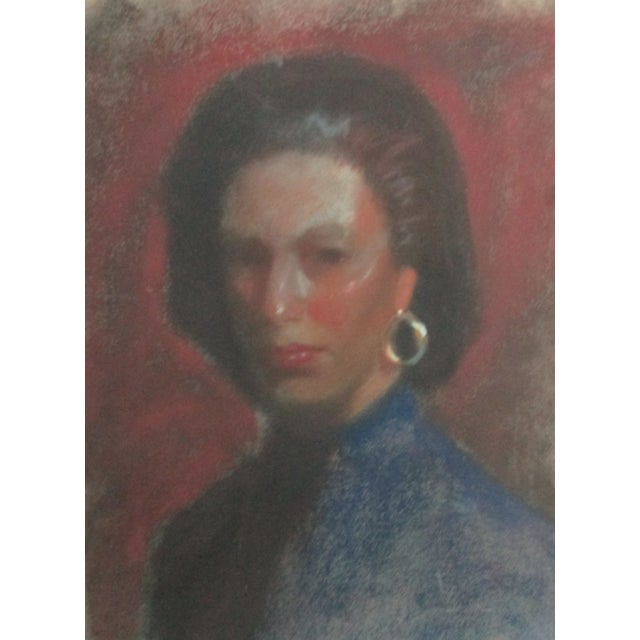 Lady With Gold Earring Pastel Portrait - Image 1 of 4