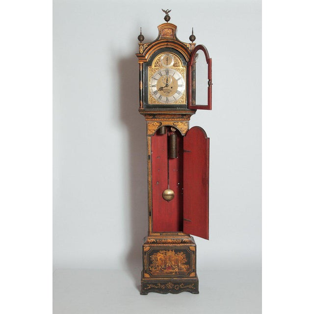 Brass George II Lacquered Chinoiserie Tall Case Clock Inscribed Jno. Fladgate, London For Sale - Image 7 of 13
