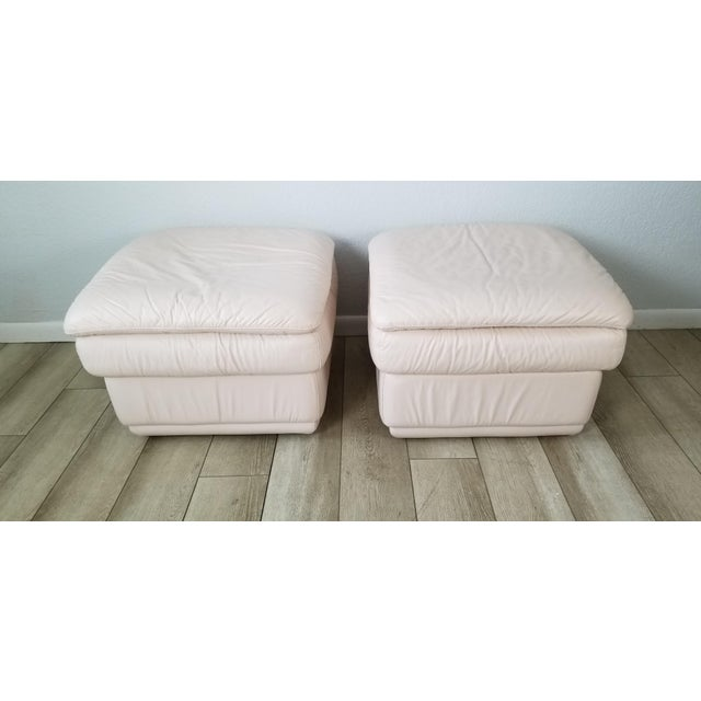 1980s 80s Italian Postmodern Style Leather Ottomans. - a Pair For Sale - Image 5 of 13