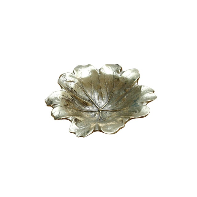 Hollywood Regency 1948 Virginia Metalcrafters Mayapple Leaf Brass Dish For Sale - Image 3 of 7