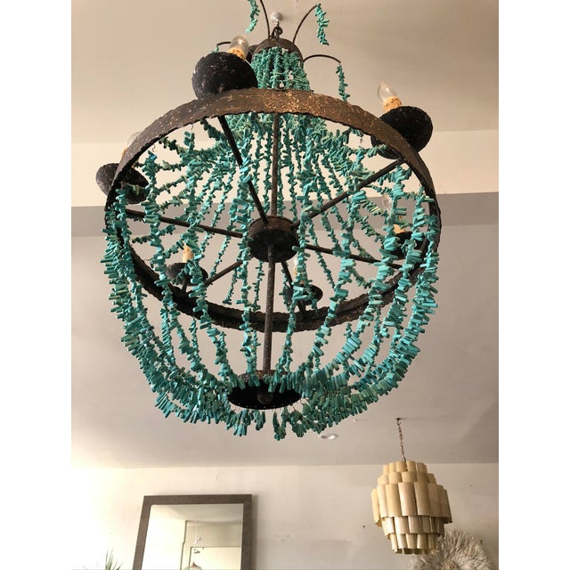 Boho Chic Regina Andrew Rustic Empire Style Turquoise Beaded Chandelier For Sale - Image 3 of 5